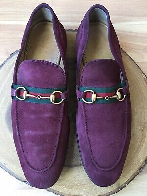 5ea872fb3b7 GUCCI Jordaan Horsebit Burgundy Suede webbing loafers 322500 Sz 11UK (US  12)
