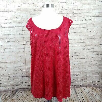 6cbc9f534e lane bryant tank top womens size 4 X red sequins bling holiday Christmas  plus