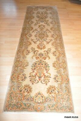 Persian-Kirman Antique Rug Circa 1930's Hall Runner Beige authentic Persian Rug