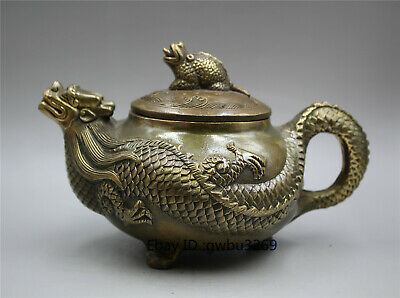Collection Chinese brass hand-carved Dragon  Teapot w Qianlong Mark