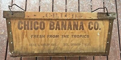 Antique Chico Banana Co Wood Steel Nesting Box Carry Crate Food Advertising Rare