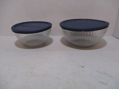 Pyrex 10 Cup & 6 Cup Ribbed Serving Bowls Baking Cook Kitchen Home Office Lids