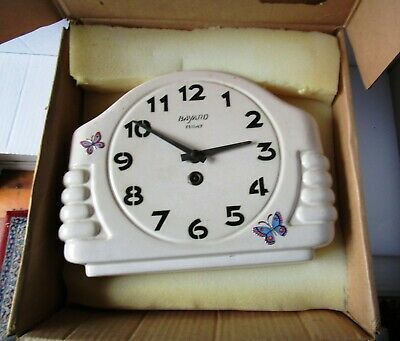 White Ceramic Art Deco Wall Clock from BAYARD (8 Day) with Original Key & Box