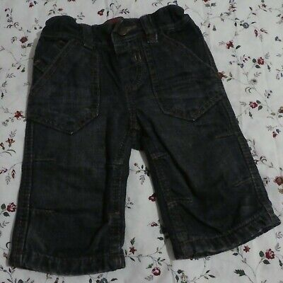 Marks And Spencer Baby Cotton Denim Jeans With Tartan Lining Age 6-9 Months