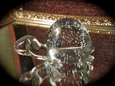 Vintage Studio Art Glass Turtle Paperweight w/controlled bubbles Crystal Clear