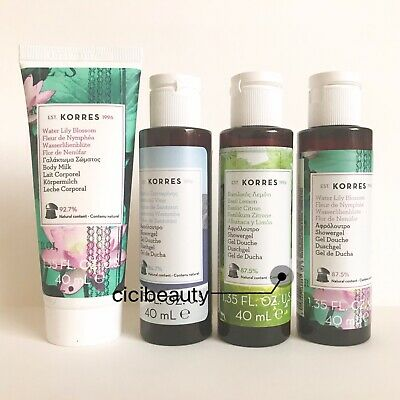 AU NEW Korres Santorini, Water Lily & Basil Shower Gel/Body Milk Travel Set