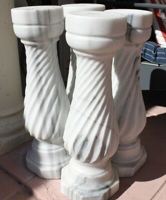 """23.5"""" x 8.5"""" solid marble handcarved balusters 4 matching pieces"""