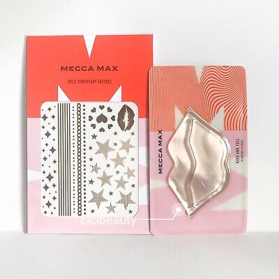 AU NEW Limited Mecca Max Gold Temporary Tattoos + Plumping Lip Mask Pack