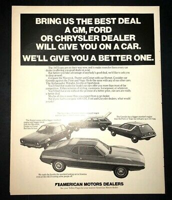 Classic Vintage Advertisement M3113-H83 1972 AMC Sportabout Hornet  Javelin