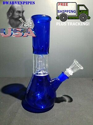 Hookah Water Pipe Bong Glass 8 inch Royal Blue