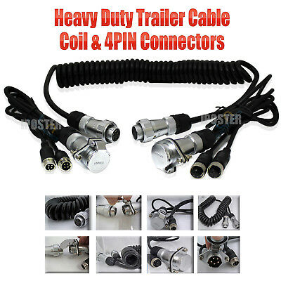 4m 2ch SUZY COIL TRAILER EXTENSION CABLE LEAD 5 PIN PLUG & SOCKET caravn towing