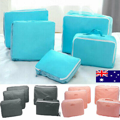 5Pcs Packing Cube Travel Pouch Luggage Organiser Clothes Suitcase Storage Bag GR