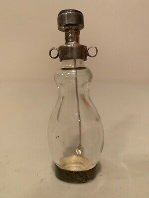 Antique Victorian Era Sterling Silver .925 & Glass Snuff Bottle With Spoon
