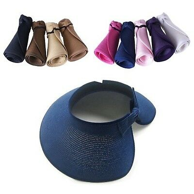 Beach Cap Navy Blue Summer Crushable Roll Up Wide Brim Sun Straw Hat For Girls