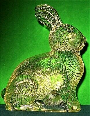 Vintage Pressed Glass Easter Bunny Rabbit Candy Container By T H Stough 1940s