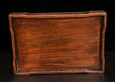 """13"""" China Collect Huanghuali Wood handcrafted Tea tray Pallets Dish plate Statue"""