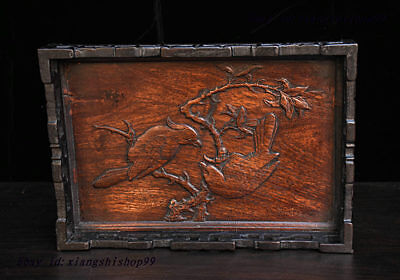 China Huanghuali Wood handcrafted Flower Bird Tea tray Pallets Dish plate Statue