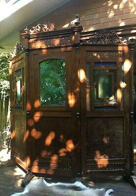 beautiful antique dressing screen with mirror and stained coloured glass work