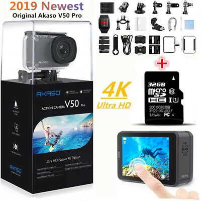 AKASO V50 Pro Native 4k/30fps 20MP Camera Action WiFi EIS Touch Screen +32GB SD