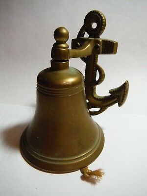 Vintage Solid Brass Ship Bell Anchor Door Bell Knocker Maritime