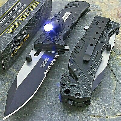 Tac Force Rescue Flashlight Sheriff Spring Assisted Tactical Folding Knife Blade
