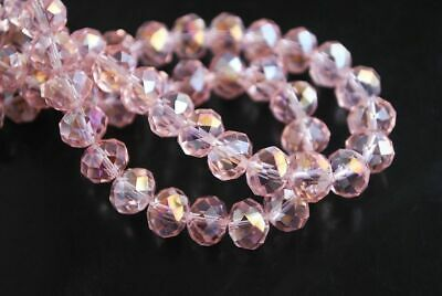 3x4mm 300PCS Pink AB Faceted Crystal Abacus Loose beads Gemstone Z.041730
