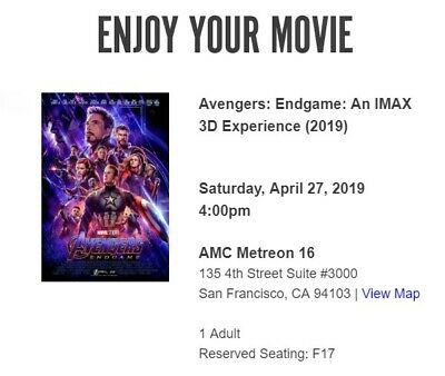 Avengers Endgame ticket IMAX 3D Metreon April 27th - Fantastic Seat Location!