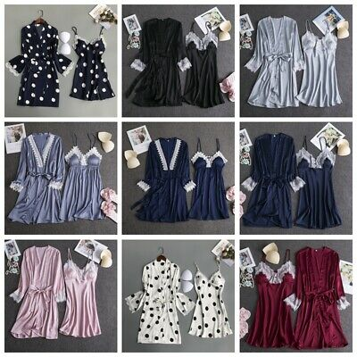 New Women Sexy Lingerie Silk Satin Gown Robe Nightdress 2pcs Babydoll Sleepwear