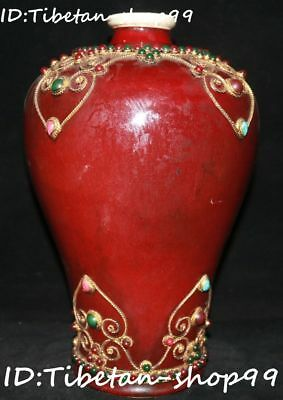 "13"" Old Red Glaze Porcelain inlay Gems Dynasty Palace Bottle Vase Jar Pot Statue"