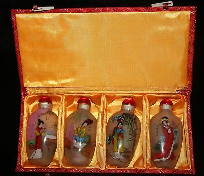 China Glass Inside Painting Four Great Beauties Snuff Bottle Vintage Statue Set