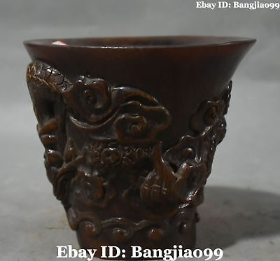 Chinese Ox Horn Ancient Dragon Loong Dragons Cann Tumbler Oxhorn Cup Statue