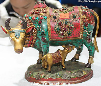 "8"" Chinese Turquoise Coral Gilt Cattle Oxen Bull Kid Cowboy Family Animal Statue"