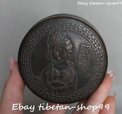 China Bronze Ancient Words Belle Beauty People Jewelry Box Jewel Case Casket