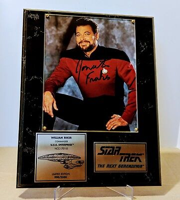 William Riker Jonathan Frakes Autograph StarTrek The Next Generation Plaque #990