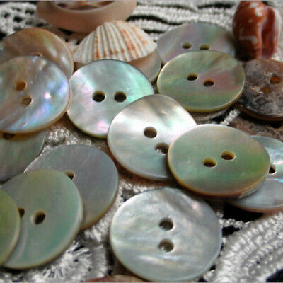 100PCS Natural Mother of Pearl Round Shell 2 Holes Sewing Buttons 10mm`FU