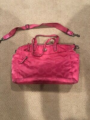 Coach Hot Pink Signature Nylon Baby Diaper Bag Designer Handbag