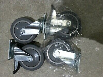 "Lot of 4 Plate Swivel Casters 5"" x 1-1/4"" Soft Rubber Wheel + Total Lock Brake"