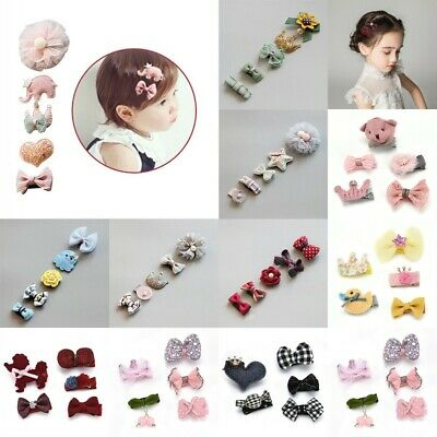 5Pcs/set Kids Baby Girl Hair Clips Bowknot Heart Crown Headwear Hairpins Gift