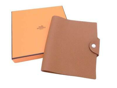 Auth HERMES A (2017) Ulysse Note/Agenda Cover Gold (Brown) Togo Leather - e40355