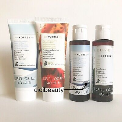 AU NEW Korres Santorini, Bergamot Pear & Fig Shower Gel/Body Milk Travel Set