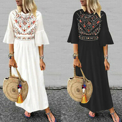 ZANZEA 8-24 Women Floral Sundress Kaftan Caftan Abaya Plus Size Long Maxi Dress