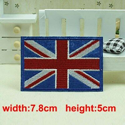 UK Flag Emblem Embroidered Trim Applique National Country Sew/Iron on Patch
