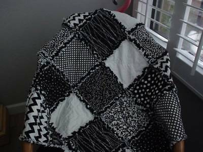 Chic Baby Rag Quilt ~ Black ~ White ~  Hand Made in USA