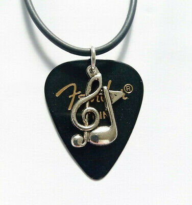 Black Fender guitar pick necklace with treble clef music note musical pendant