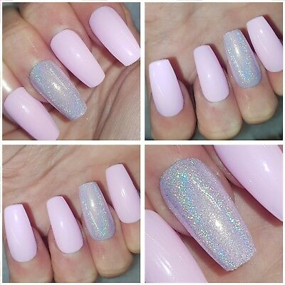 New!! Petal Pink & Holographic Feature Nails GLOSSY FINISH Long Coffin Nails x20