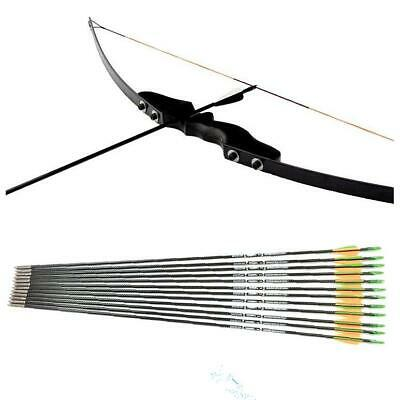 "30 40 LBS Recurve Bow 12PCS Arrows 50"" Archery Kit Training Beginner Cheapest"