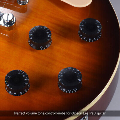4pcs Speed Volume Tone Control Knobs for Gibson Les Paul Guitar Black GL