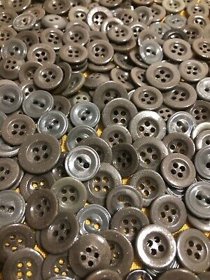 """⭐️   Antique~Vintage China Buttons~Lot Of 100  Assorted """"grays""""  2 & 4 Hole   ⭐️"""