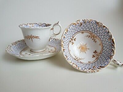 Antique English Porcelain Trio hand painted Rococo Revival 19th Century