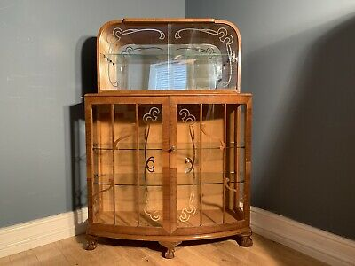 Art Deco Style Walnut Display Cocktail Cabinet